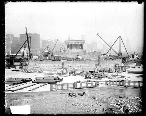 Construction taking place on Buckingham Fountain in Grant Park, 1926.