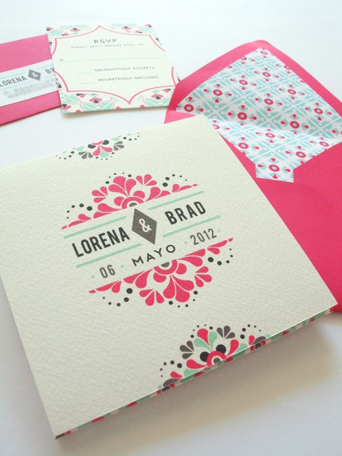"Mexican tile-inspired invitations set the tone for colorful festivities to come.  <a href=""http://lover.ly/shop?q=engagement+"