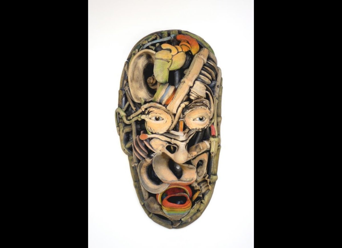 "Bill Abright, ""Finding Your Voice, ""2012, Wall mounted ceramic with acrylic, 25"" x 15""x 9"""
