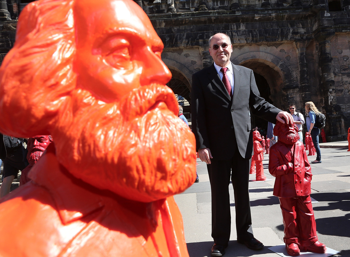 TRIER, GERMANY - MAY 05:  Gregor Gysi, chairman of the parliamentary group of the German Left party (Die Linke), with one of