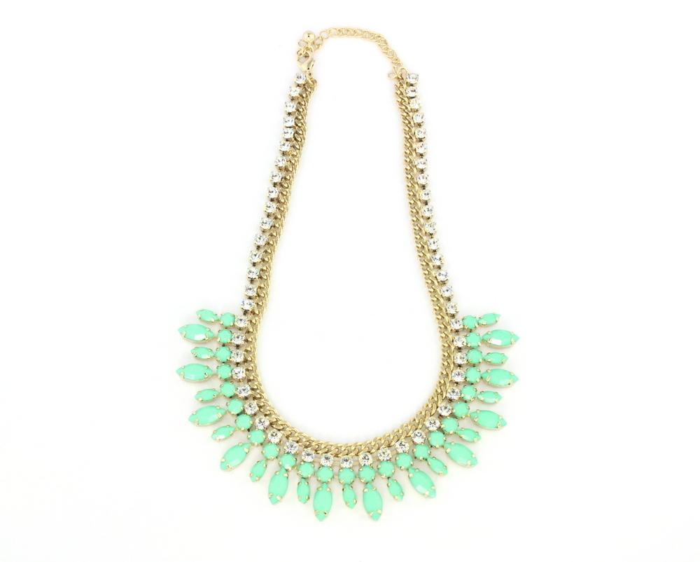 """<a href=""""http://www.wanderlustandco.com/shop/bauble-bib-mint-necklace/#"""" target=""""_blank"""">Wanderlust + Co. Bauble Bib Mint Nec"""