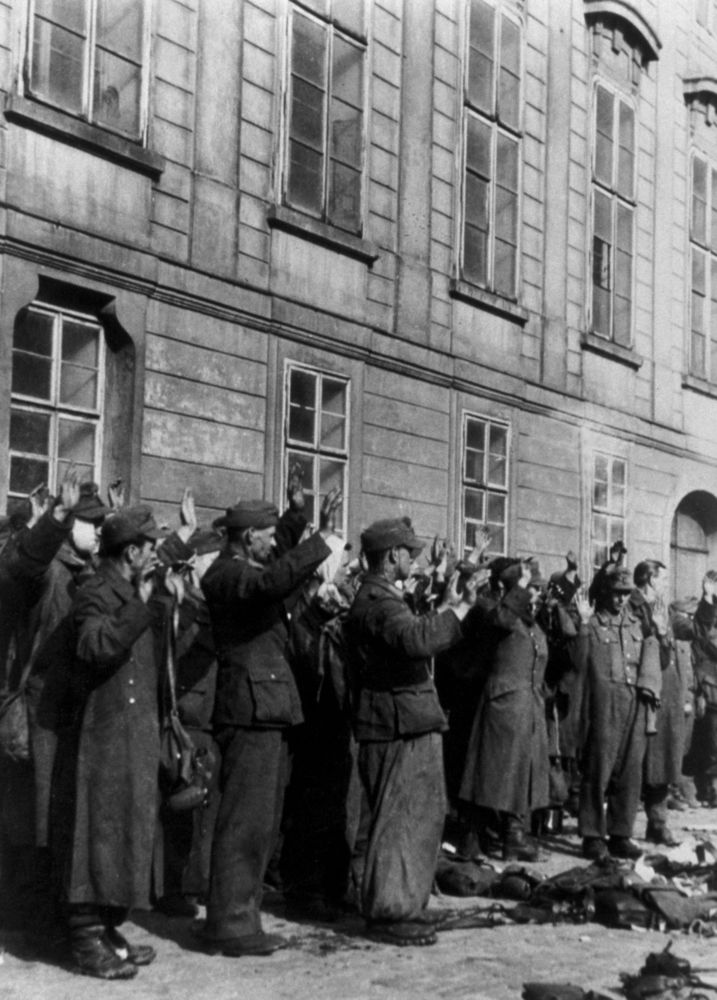 May 1945: Remnants of the German Army in Prague surrendering to the Allies. (Photo by Keystone/Getty Images)