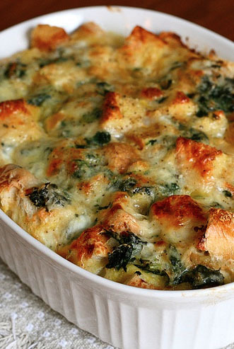 """<strong>Get the <a href=""""http://www.annies-eats.com/2010/03/15/spinach-and-cheese-strata/"""" target=""""_blank"""">Spinach And Cheese"""