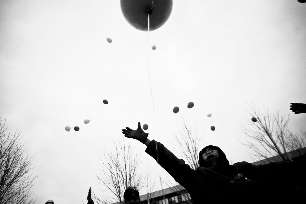 Members of the Bright Star Church in Chicago released balloons in memory of teenage victims of gun violence throughout the ci
