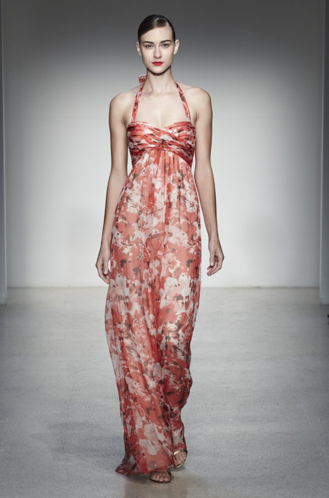 "GA111C, Ruched empire waist halter gown in Coral Amore Printed Chiffon. <a href=""http://amsale.com/bridesmaids/"" target=""_hpl"