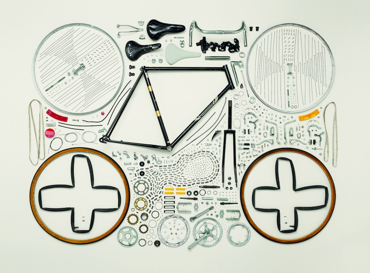 """Caption: Bicycle, 1980s; Raleigh; Component count: 893 Photo credit: ©2013 <a href=""""http://www.toddmclellan.com/thingscomeapa"""