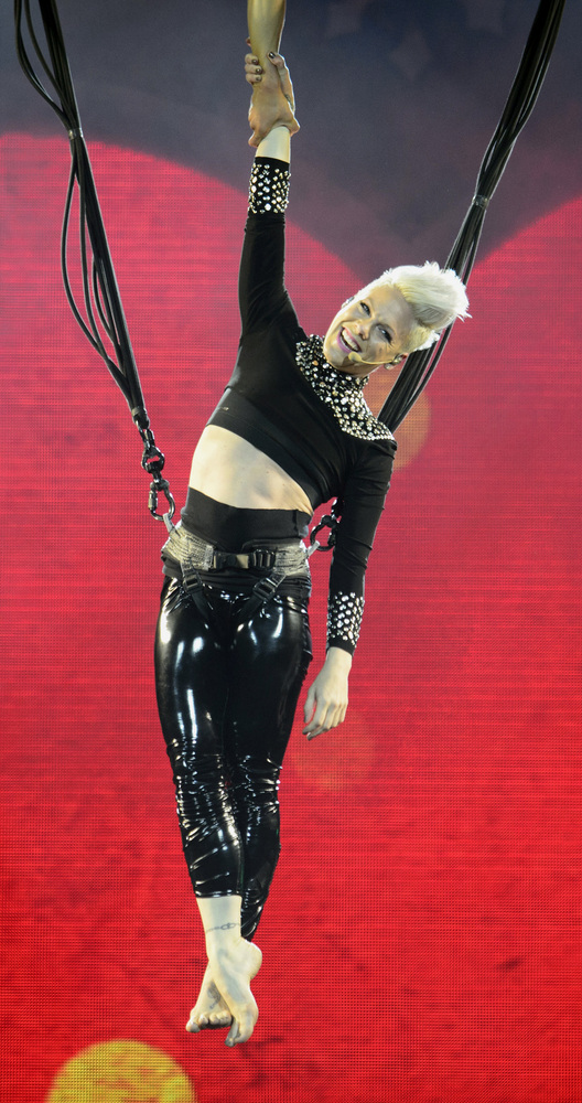 US pop singer Pink performs during her show in Prague, Czech Republic, Friday, May 10, 2013. (AP Photo/CTK, Michal Kamaryt)
