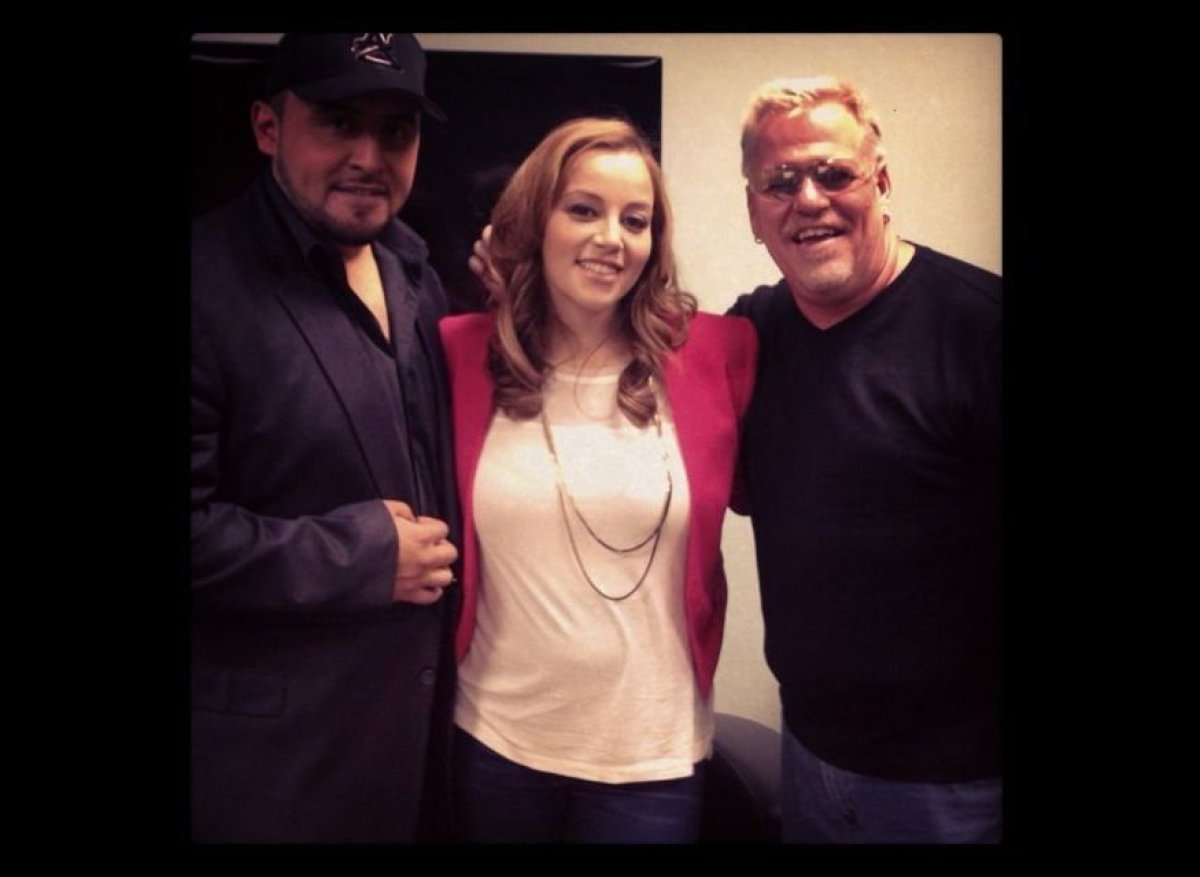 Juan and Rosie Rivera with Karel backstage at the Grammy Museum awaiting the press.