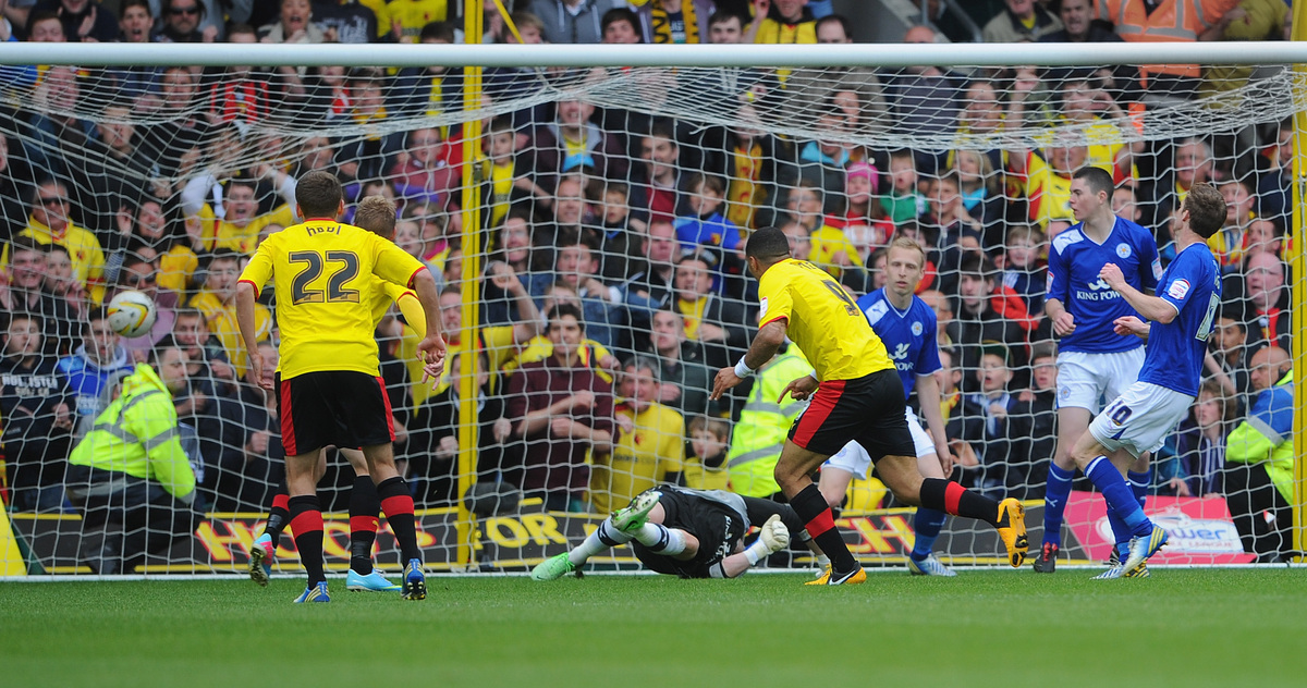 WATFORD, ENGLAND - MAY 12:  Troy Deeney of Watford score the winning goal during the npower Championship Play Off Semi Final: