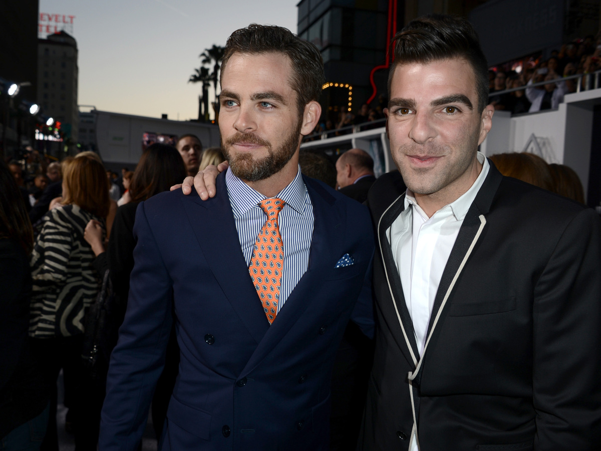Actor Chris Pine (L) and Zachary Quinto arrive at the Premiere of Paramount Pictures' 'Star Trek Into Darkness' at Dolby Thea