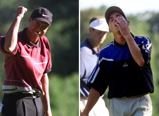 """In 1999, when Garcia made a birdie on the par-3 13th and gave Tiger Woods a """"mischievous glare,"""" <a href=""""http://www.golf.com"""