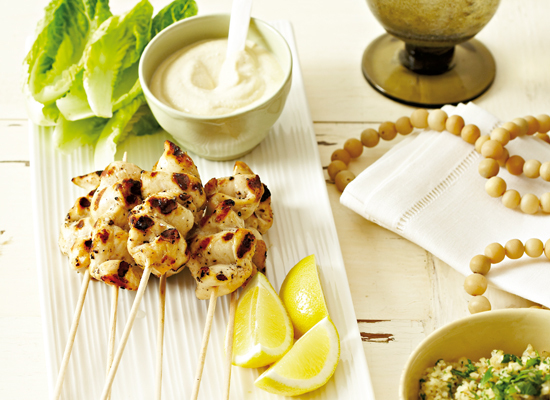 "<strong>Get the <a href=""http://www.huffingtonpost.com/2011/10/27/grilled-chicken-skewers-w_n_1057619.html"" target=""_blank"">G"
