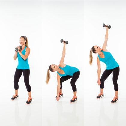 <strong>Reps:</strong> 15 per side  Stand with feet slightly wider than hip width, knees bent, holding one dumbbell in front