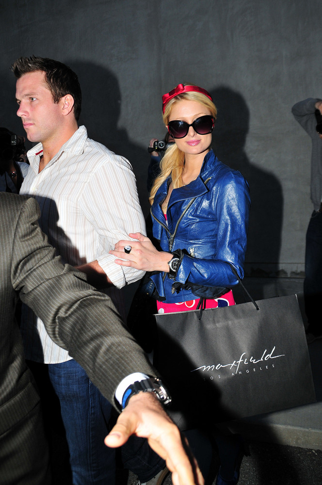 Paris Hilton and Doug Reinhardt leave The Ivy to shop at Maxfields to celebrate Paris Hilton's 29th birthday on February 17,