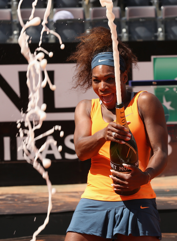 ROME, ITALY - MAY 19:  Serena Williams of the USA sprays champagne after her straight sets victory against Victoria Azarenka