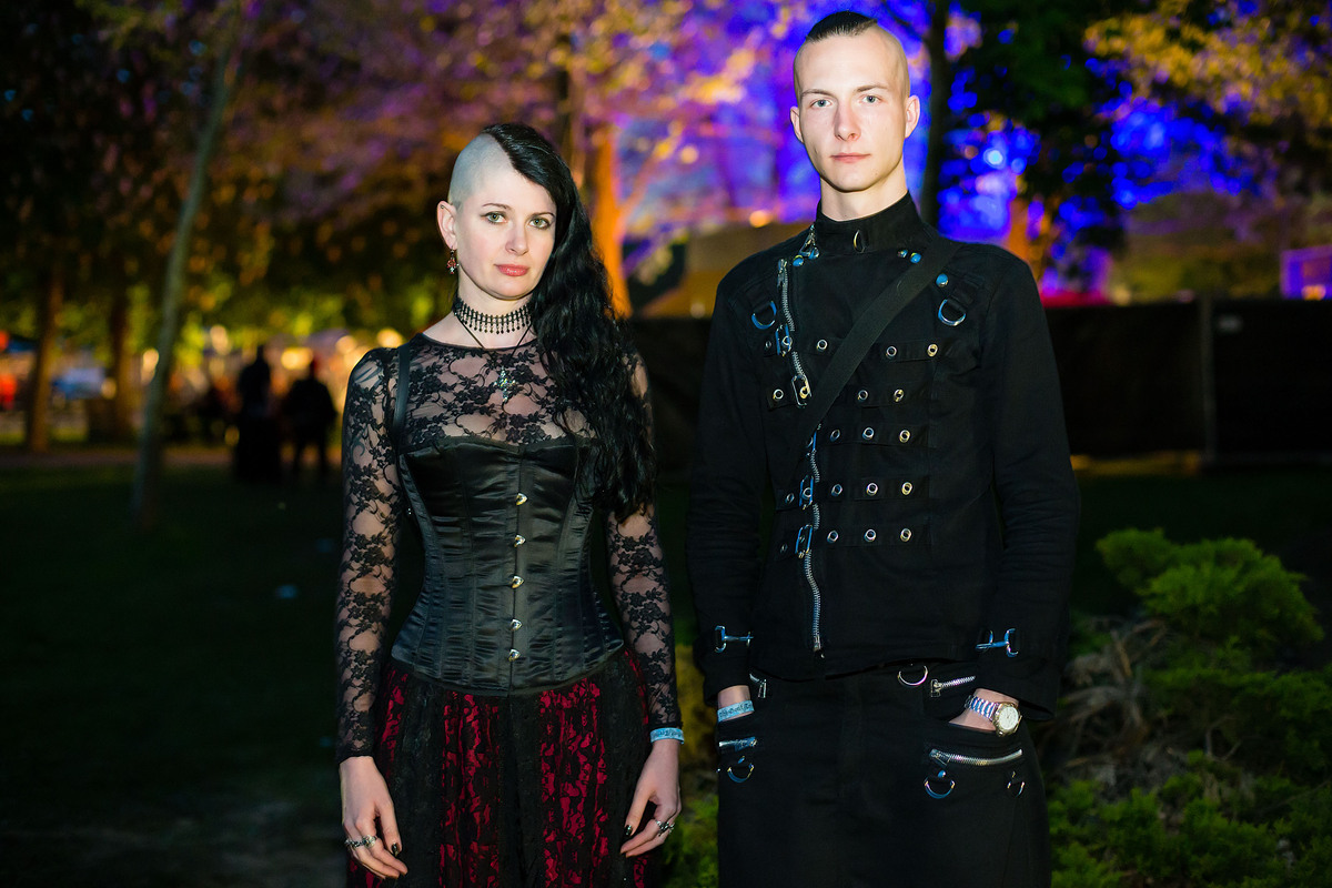 A goth couple poses for pictures at the Agra festival area on the first day of the annual Wave-Gotik Treffen, or Wave and Got