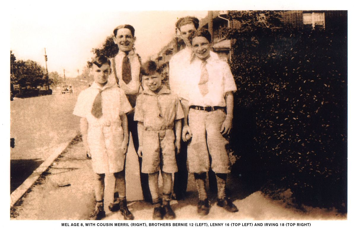 Back Row Left to right: Mel's brothers Leonard and Irving, Front Row Left To Right: Cousin Merrill, Mel Brooks and brother Be