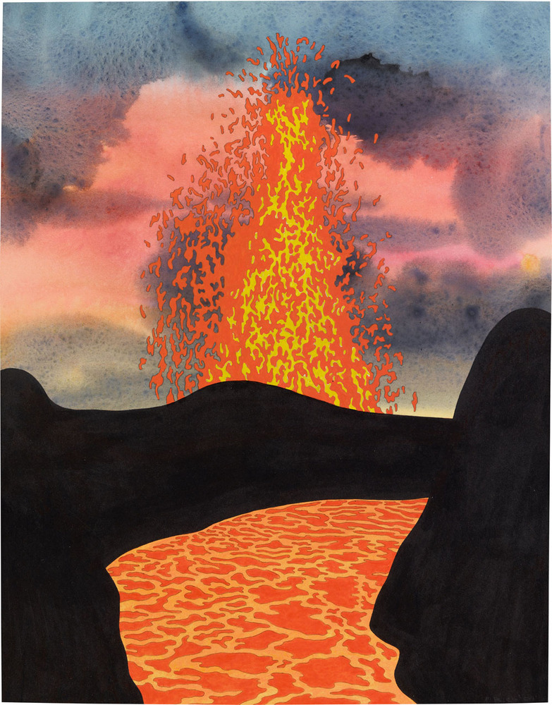 Ken Price, Liquid Rock, 2004. Acrylic and ink on paper, 17 ¾ x 13 7/8 inches (45.1 x 35.2 cm). Estate of Ken Price, Courtesy