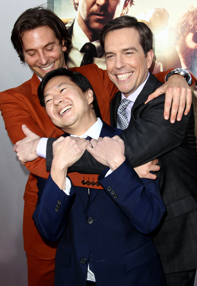 "Bradley Cooper, left, Ken Jeong, center, and Ed Helms pose together at the LA Premiere of ""The Hangover: Part III"" at the Wes"