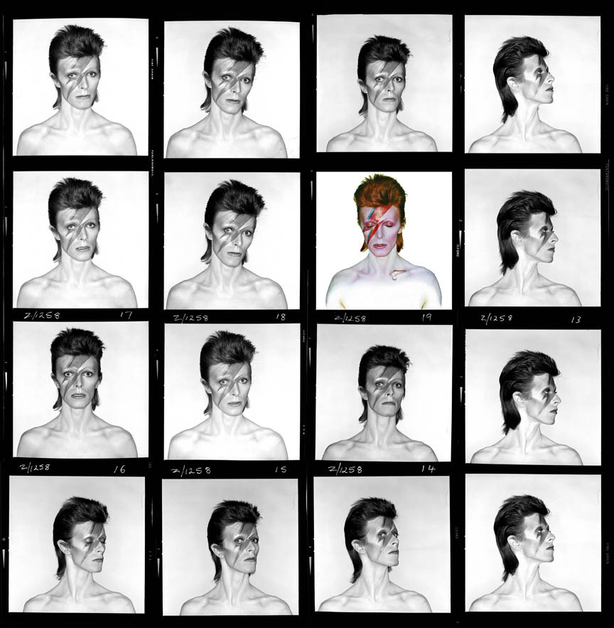 David Bowie, Aladdin Sane, Contact Sheet, 1973 © Brian Duffy