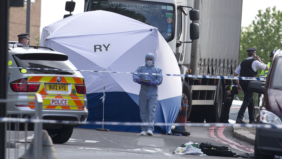 A tent is erected near the scene of an attack in Woolwich southeast London Wednesday, May, 22, 2013.  (AP Photo/Alastair Gran