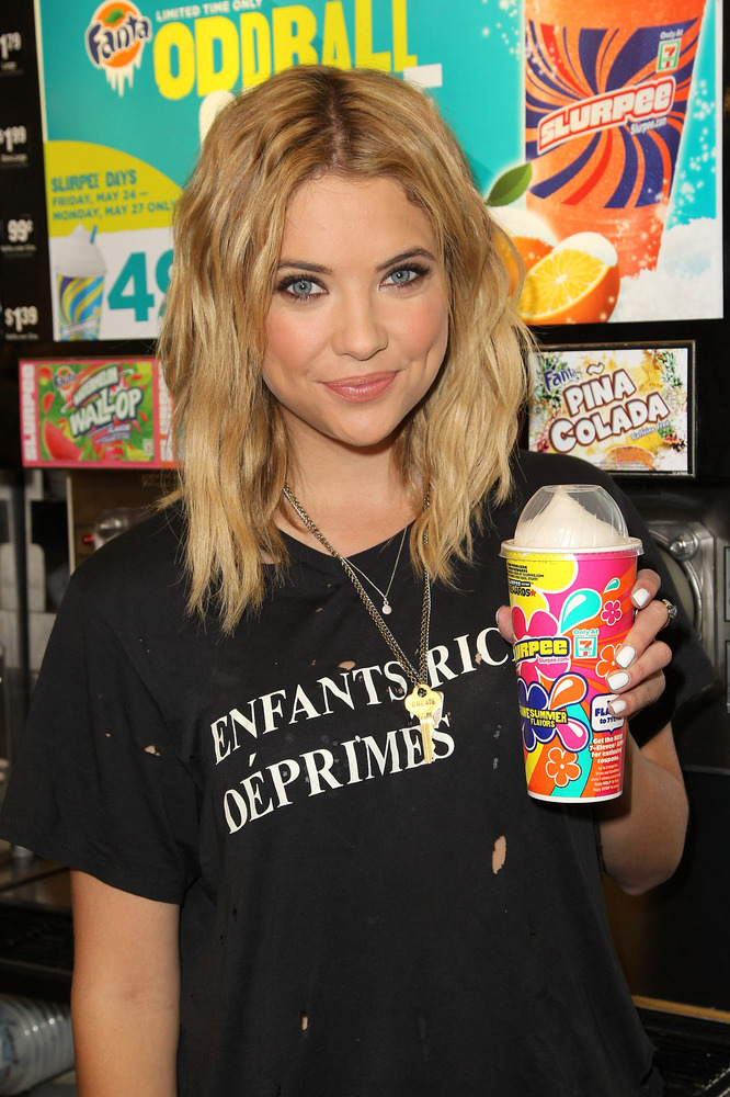 LOS ANGELES, CA - MAY 22:  Actress Ashley Benson kicks off summer at 7-Eleven with 49 cent medium Slurpee drinks all Memorial