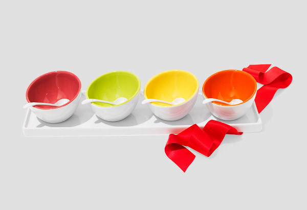 """Four porcelain bowls on a matching tray—that's a lot of gift!""—Oprah  <em>$35, <a href=""http://www1.macys.com/shop/product/c"