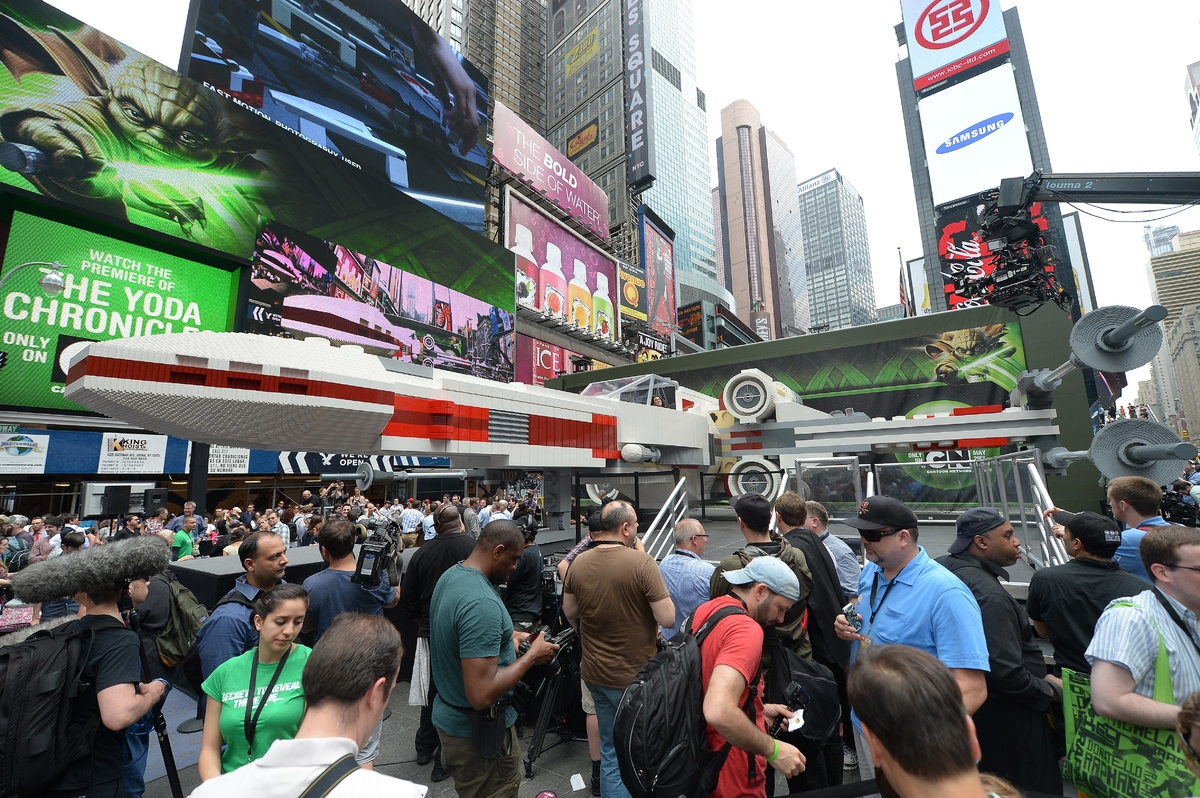 The world's largest LEGO model is on display at Times Square in New York, May 23, 2013. Made of 5,335,200 LEGO bricks and bas