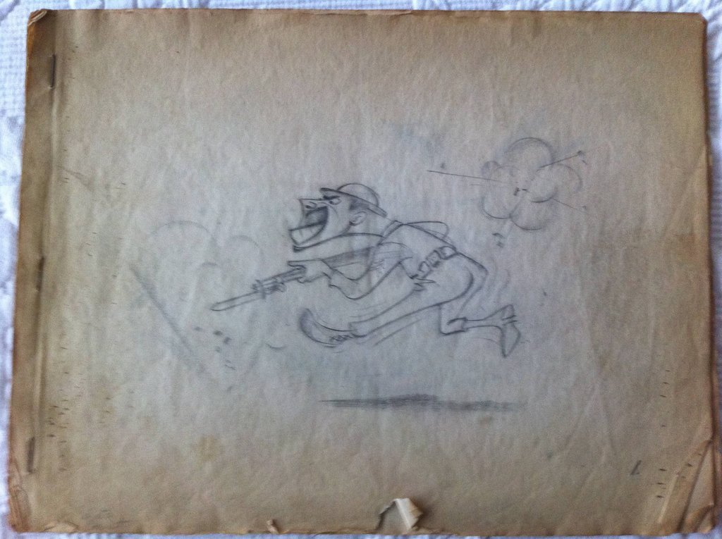 "Sketches by World War II veteran Weston Emmart.  Courtesy <a href=""http://www.mightytanaka.com/"" target=""_blank"">Alex Emmart."