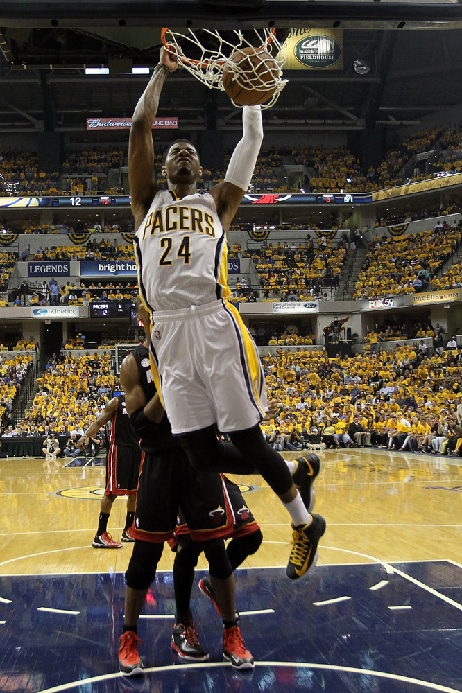 INDIANAPOLIS, IN - MAY 28:  Paul George #24 of the Indiana Pacers dunks in the first half against the Miami Heat during Game