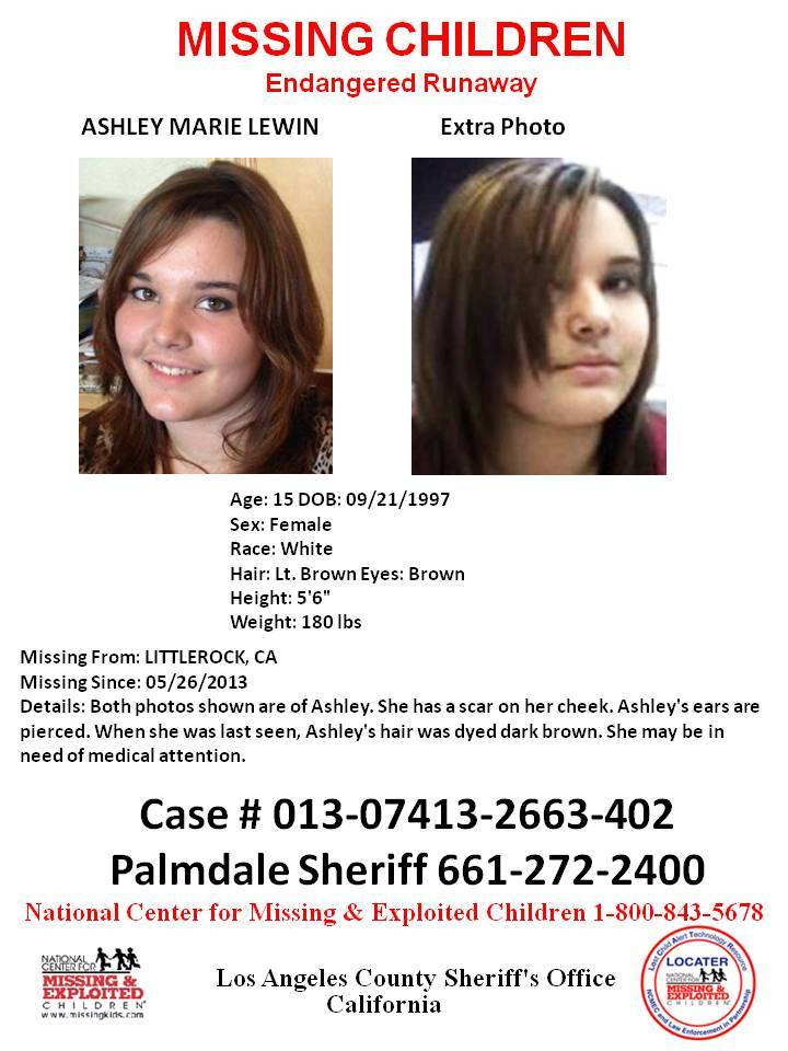 Ashley Marie Lewin was last seen at her Littlerock, California residence on May 26, 2013.