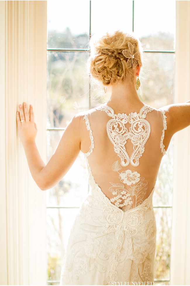 "The delicate pattern on the back of this dress is the most sophisticated heart we've ever seen.  <a href=""http://lover.ly/exp"