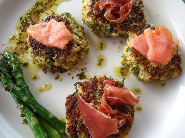 "<strong>Get the <a href=""http://food52.com/recipes/17755-cauliflower-fritters-with-smoked-salmon-prosciutto-herbed-dressing"""