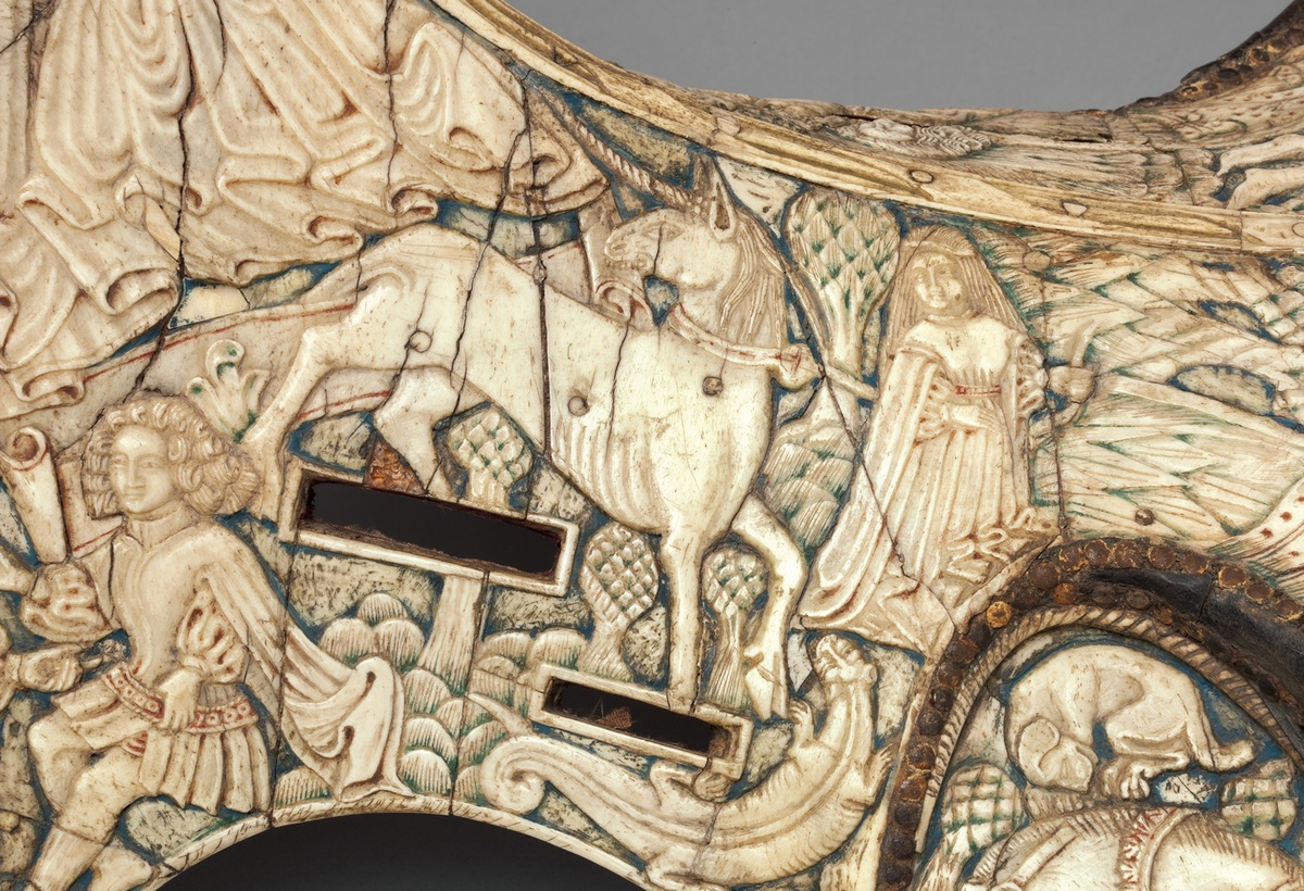 Parade Saddle German or Tyrolean, ca. 1450 Carved bone with traces of paint, mounted on a wood frame 22 x 16 1/2 x 17 in. (54