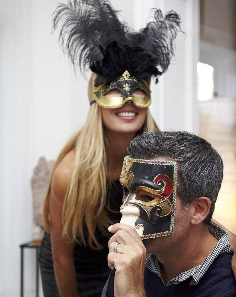 These carnival masks were purchased on the streets of Venice years ago.  They added an element of fun to the evening.