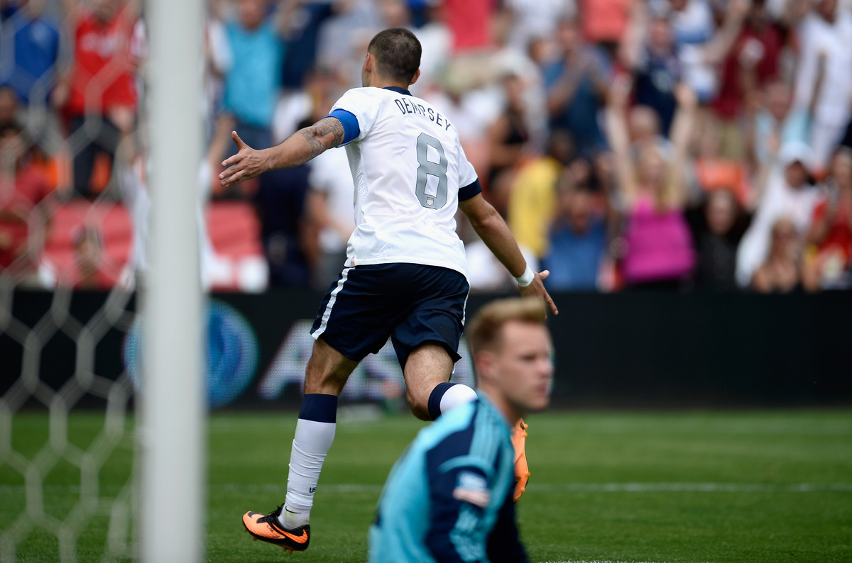 WASHINGTON, DC - JUNE 02:  Clint Dempsey of the United States celebrates scoring his side's third goal  during the Internatio