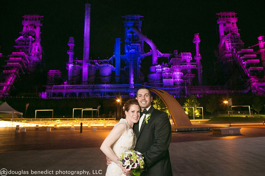 """""""Kathleen and Thomas celebrated their wedding reception at Steel Stacks in Bethlehem, Pennsylvania, a venue on the site of a"""