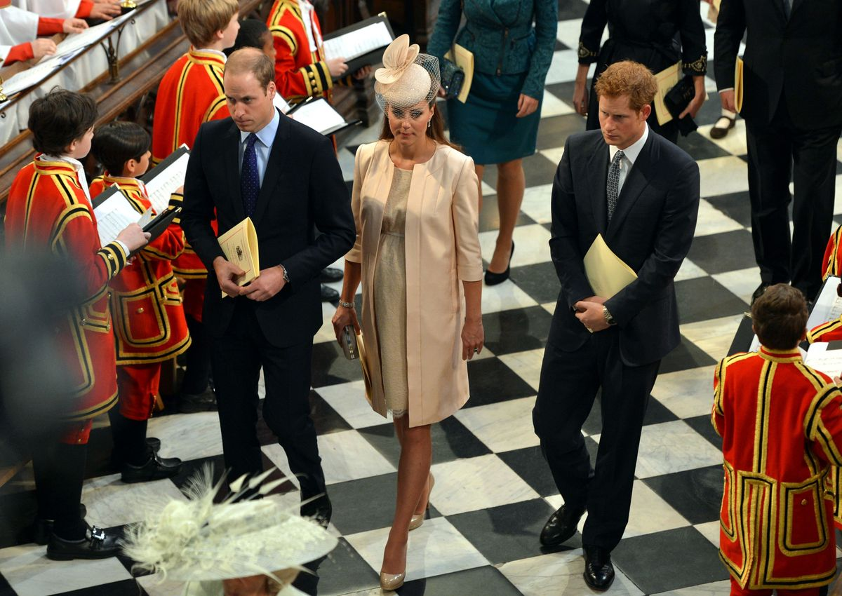 The Duke and Duchess of Cambridge and Prince Harry leave Westminster Abbey following the service to celebrate the 60th annive