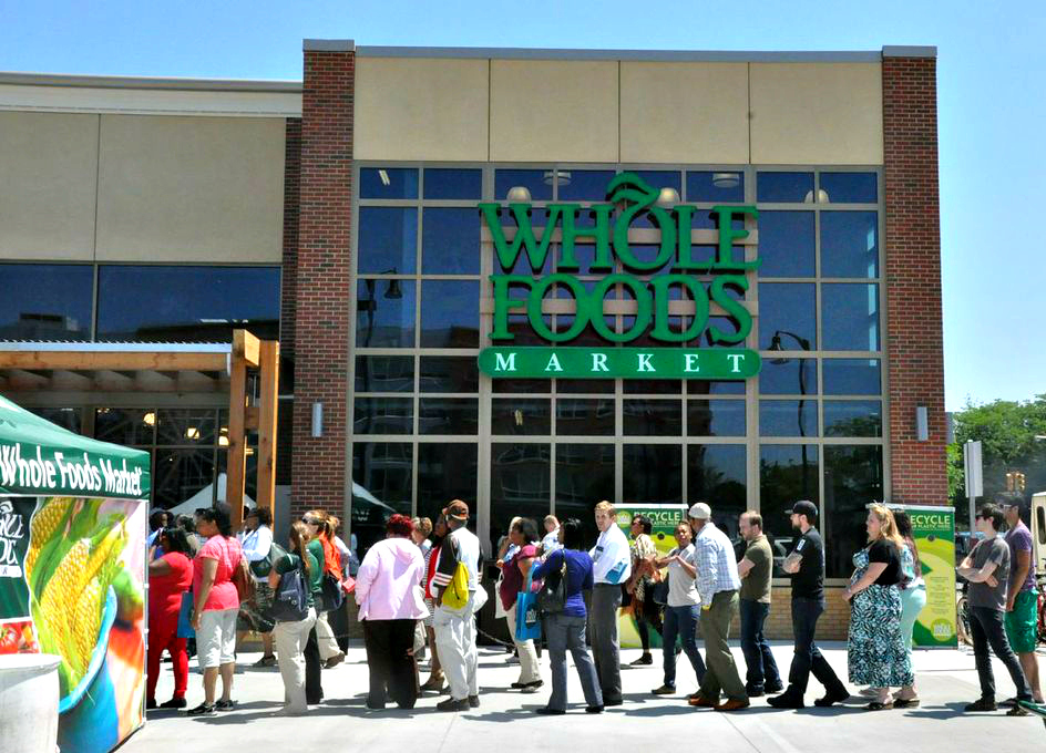Detroiters lined up outside the new Whole Foods Market in Midtown Detroit for the grand opening on June 5, 2013.  All photos