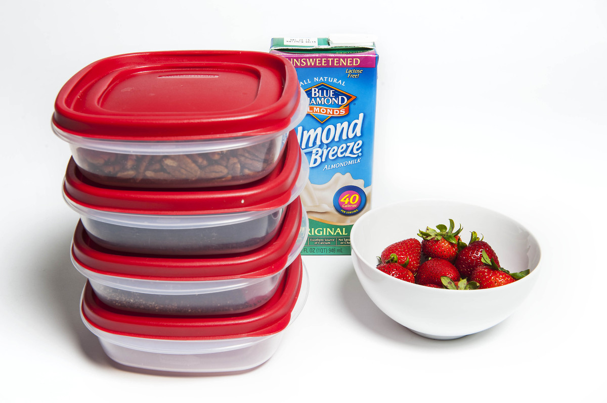 Stacking storage containers are the key to efficiency for this quick-to-assemble snack, which makes an ideal breakfast.   You