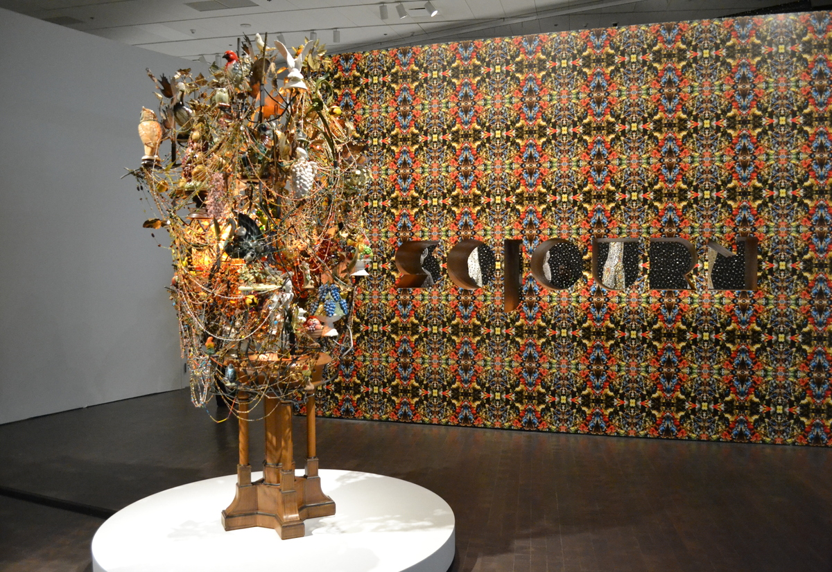 """The entrance to Nick Cave's """"Sojourn"""" exhibit at the Denver Art Museum begins with a piece inspired by a found baptismal font"""