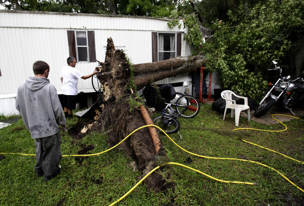 Allen Michael Reynolds, left, and his brother, David Anthony Reynolds look at the roots of a tree that fell onto their home d