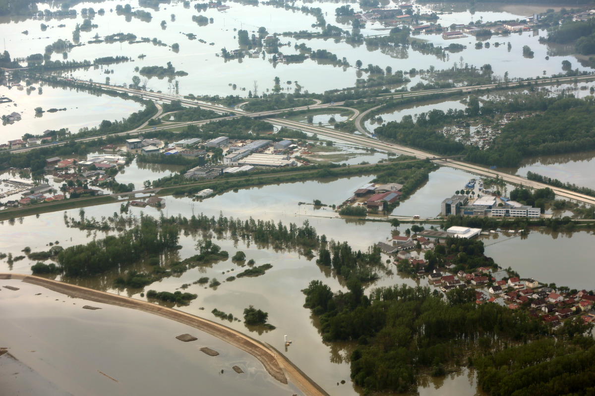 In this aerial view the city of Deggendorf, Germany is flooded by Danube river on Sunday June 9, 2013. Thousands of people ha
