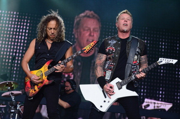 Kirk Hammett and James Hetfield of Metallica perform during the 2013 Orion Music + More Festival at Belle Isle Park on June