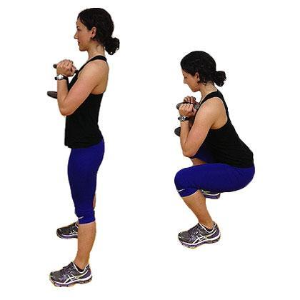 Reps: 8 to 10  Stand tall with feet shoulder-width apart. Hold a dumbbell vertically next to chest with both hands cupping th