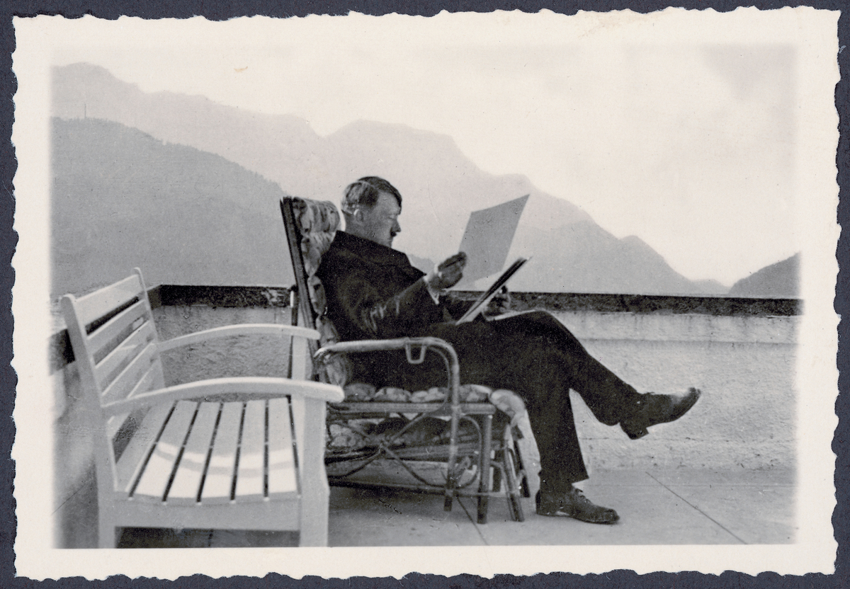 The Berghof of Adolf Hitler at the Obersalzberg near Berchtesgaden: Adolf Hitler at the patio of the Berghof, wearing civil c