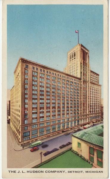 A 1950s postcard showing the J.L. Hudson building.