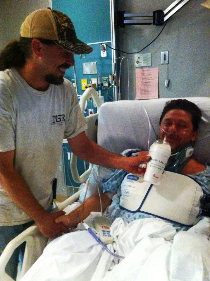 Mike Patterson, a Georgia dad, was paralyzed from the chest down on June 8 after he dove into a creek to save a 4-year-old gi