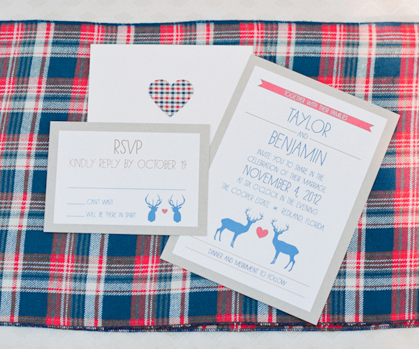 """Simple, rustic invitations with a deer and a stag will set the tone for your camp-inspired wedding.   <a href=""""http://lover.l"""