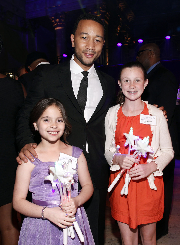 NEW YORK, NY - JUNE 13:  John Legend poses with Wish Kids at 'An Evening of Wishes', Make-A-Wish Metro New York's 30th Annive
